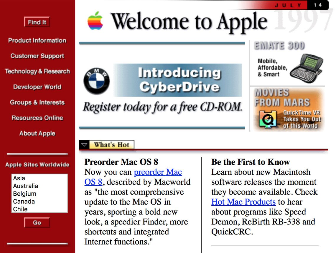 Web Brutalist: Apple Computer, Inc. website, 1997