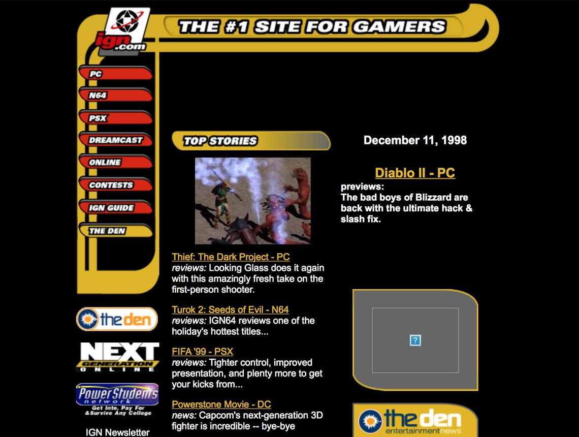 Brutalism: IGN.com website, 1998