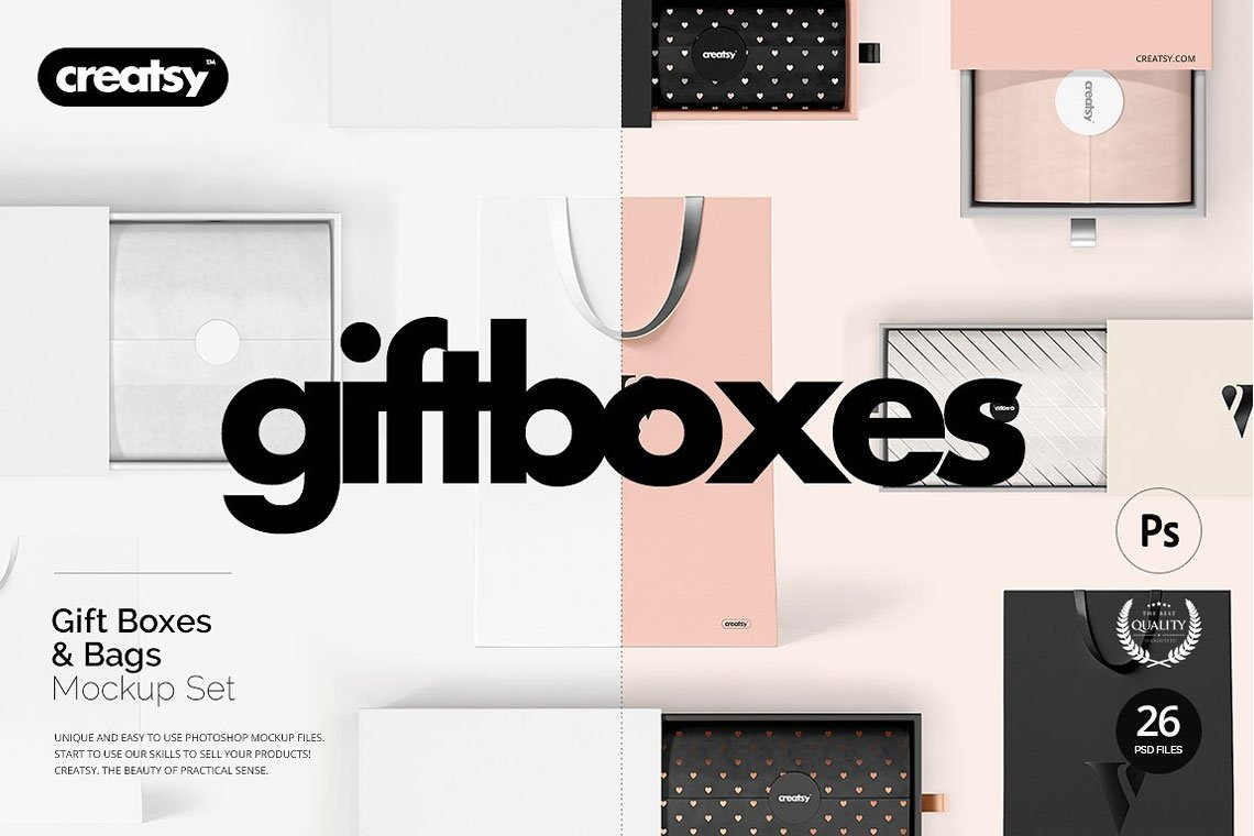 Gift Boxes and Bags Mockup Set by Creatsy