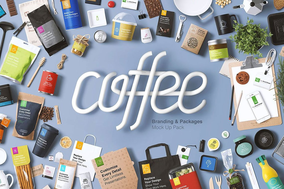 Coffee Branding & Packages Mock Up by Mockup Zone