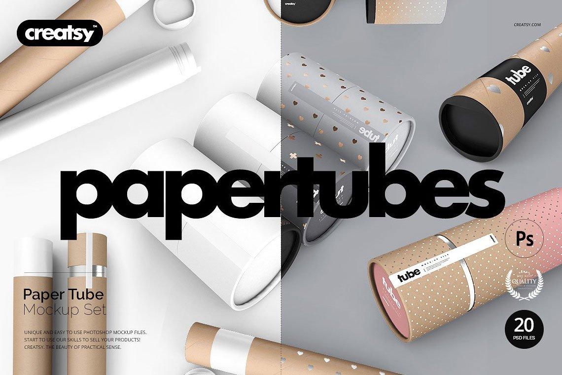 Paper Tube Mockup Set by Creatsy