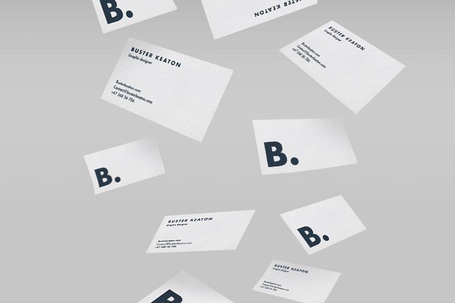 Floating Business Card Mockup PSD
