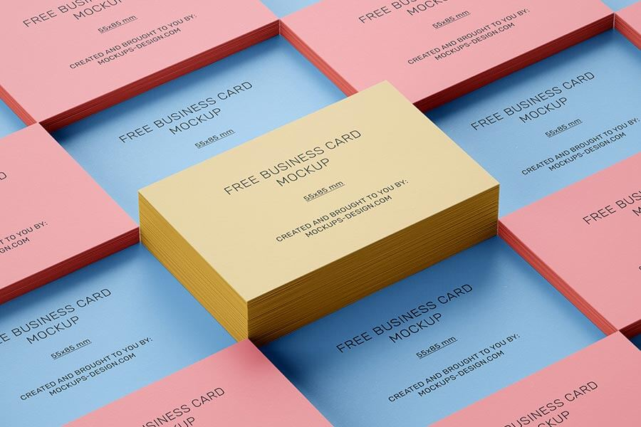 Stacked Free Business Cards Mockup