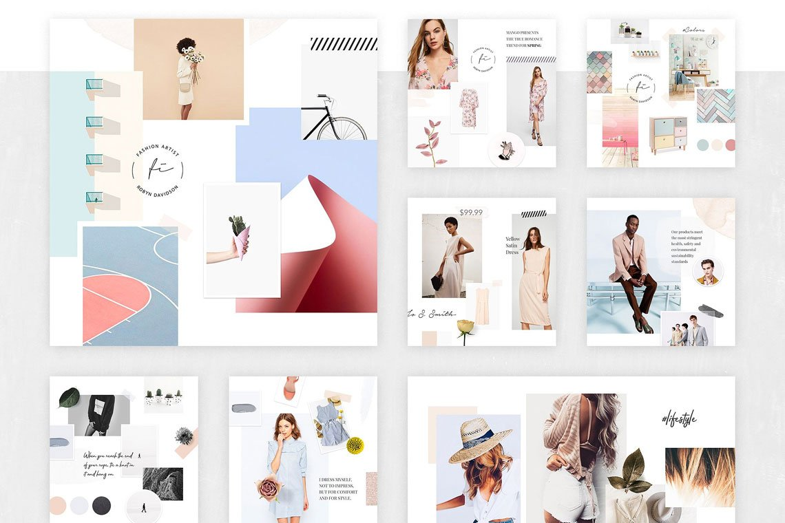 Fashion Mood Board Templates by Pixelbuddha