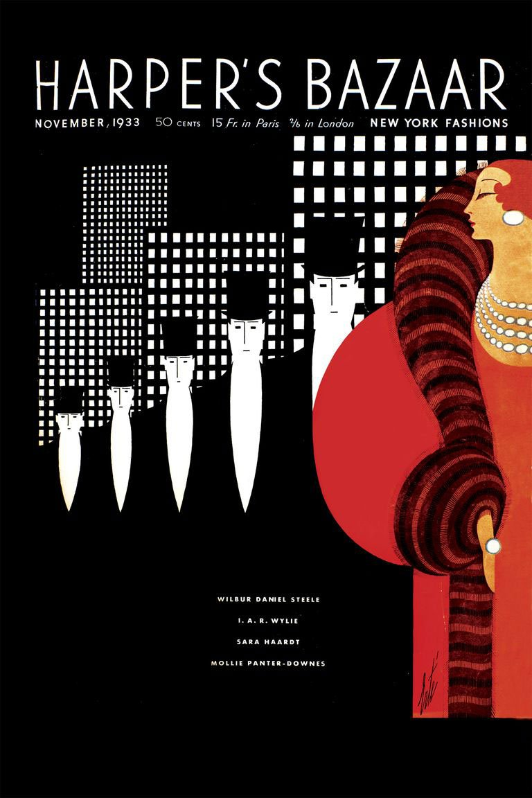 Erte's cover for the November 1933 issue of Harper's BAZAAR — harpersbazaar.com