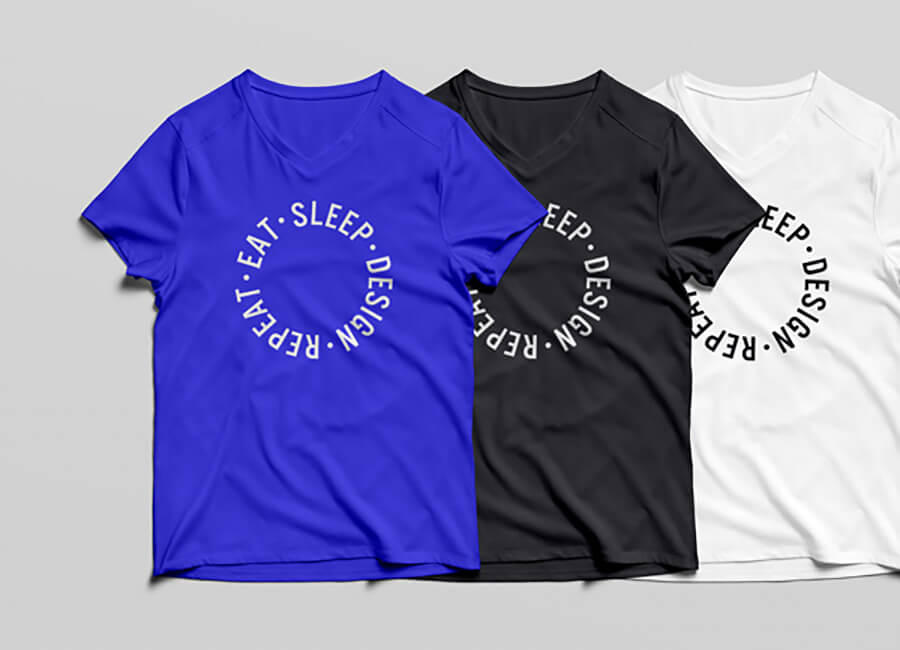 V-Neck T-Shirt MockUp PSD