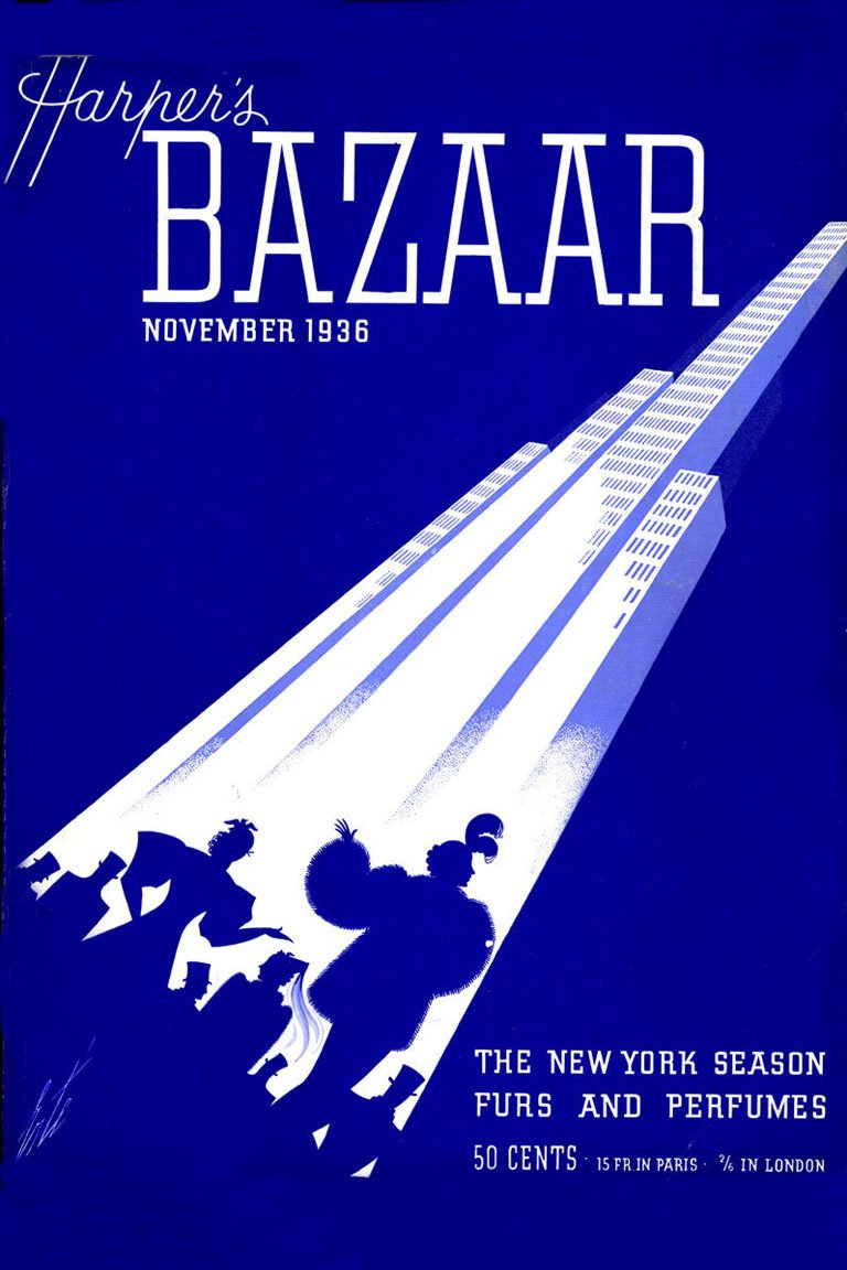 Erte's cover for the November 1936 issue of Harper's BAZAAR — harpersbazaar.com