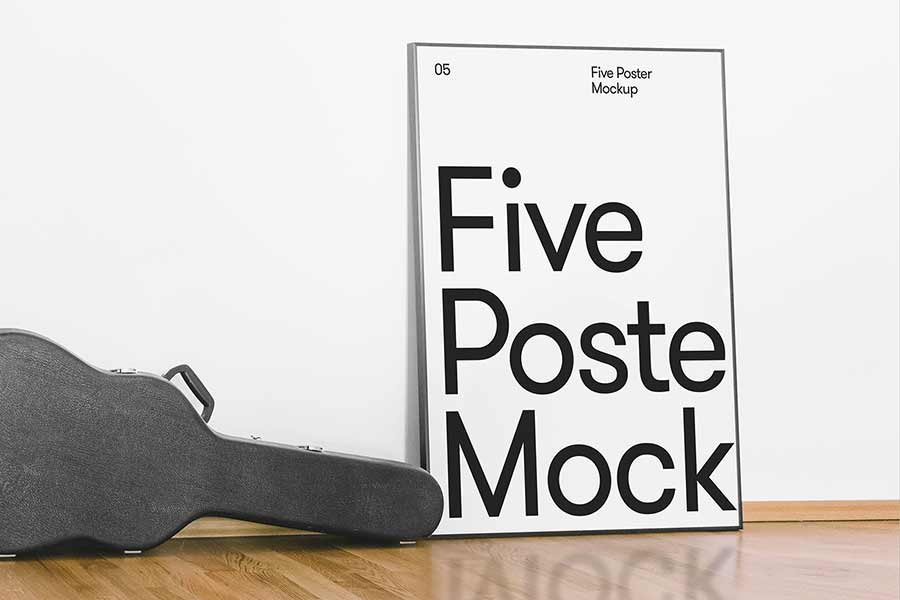 White Wall Free Poster Mockup