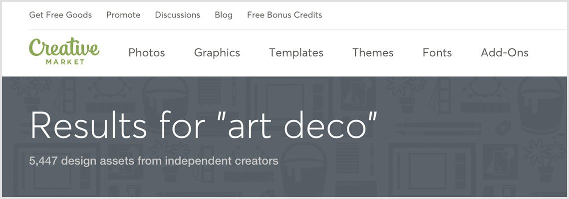 Art Deco search result on Creative Market