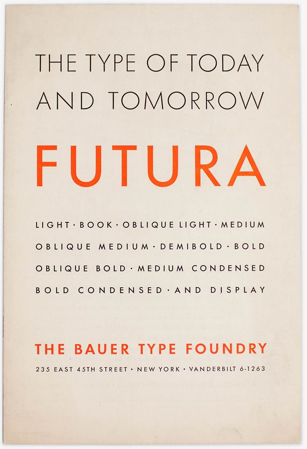 Specimen of Futura by Bauer type foundry.