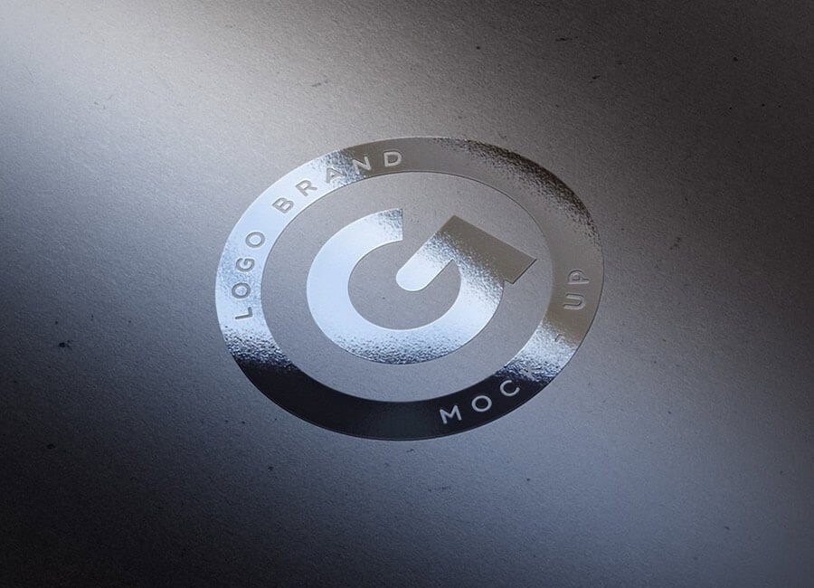 Silver foil logo mockup template