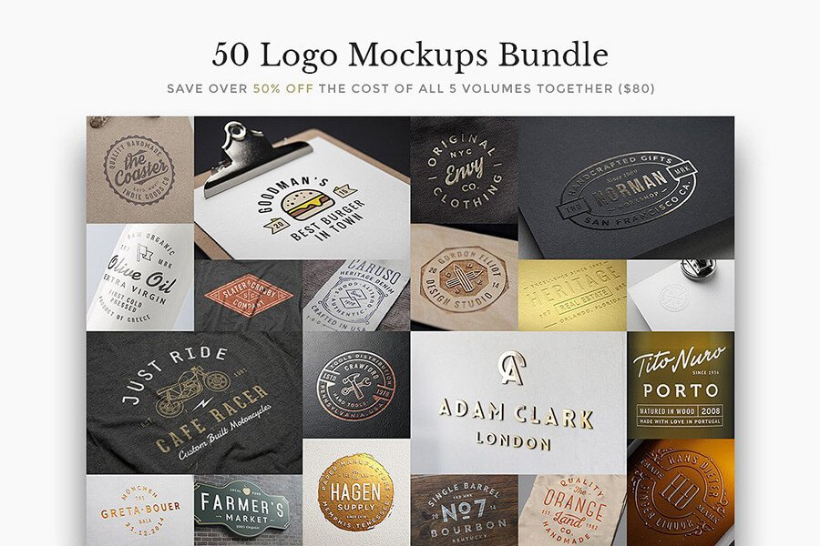 50 Logo Mock-Ups Bundle