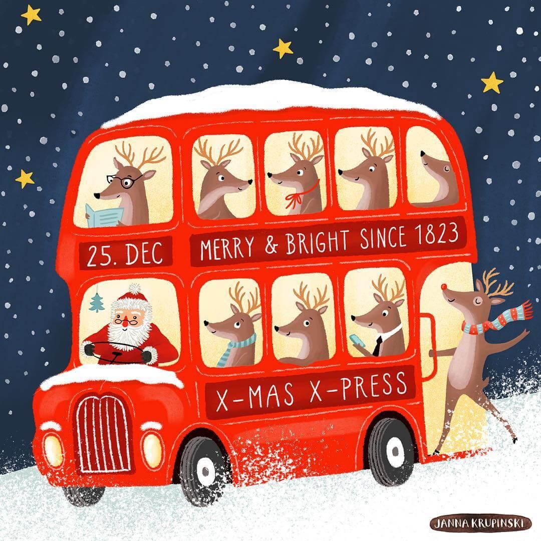 Christmas Bus by Janna Krupinski via Instagram