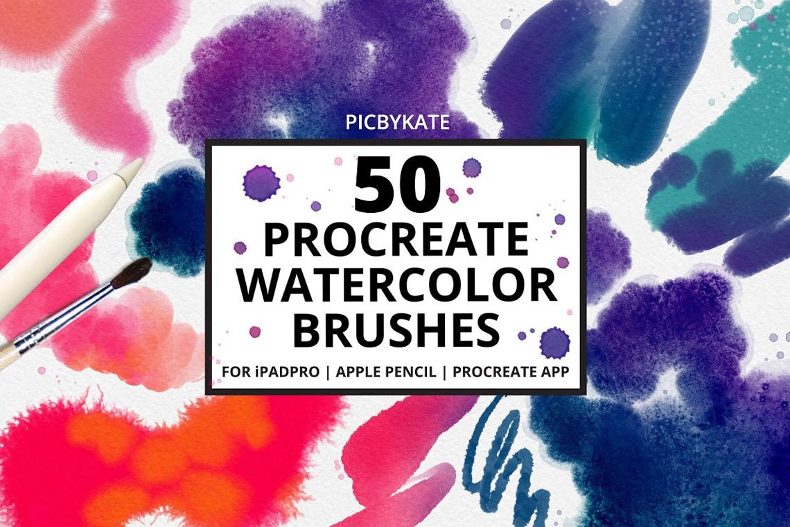 50 Procreate Watercolor Brushes by PicByKate
