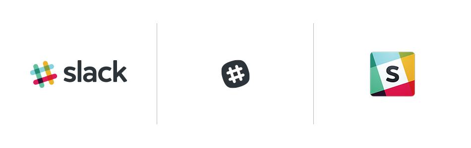 Different versions of the old Slack logo | via slackhq.com