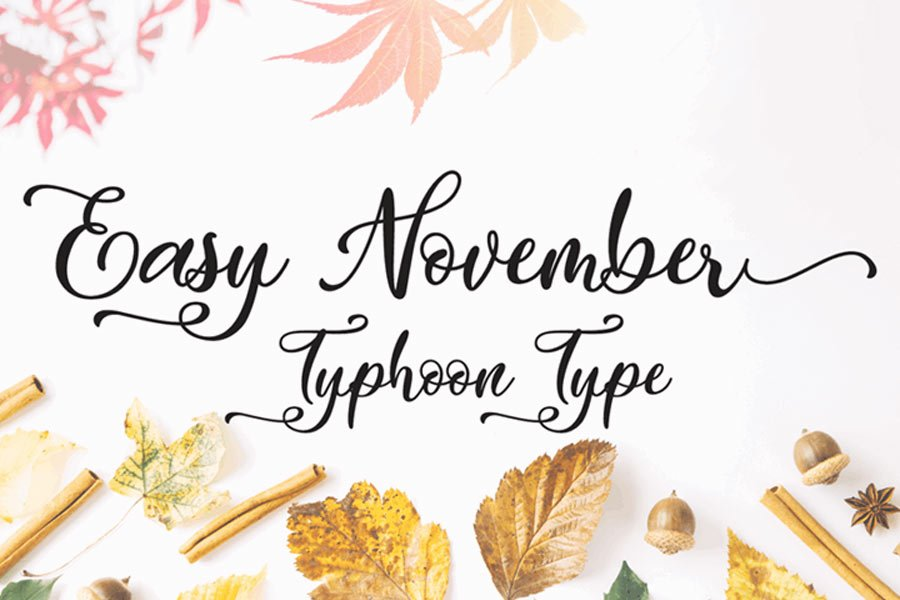 Easy November free calligraphy font