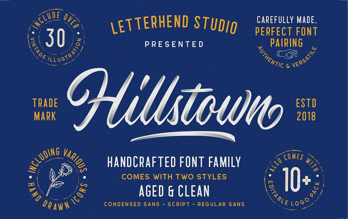 Hillstown free calligraphy font collection