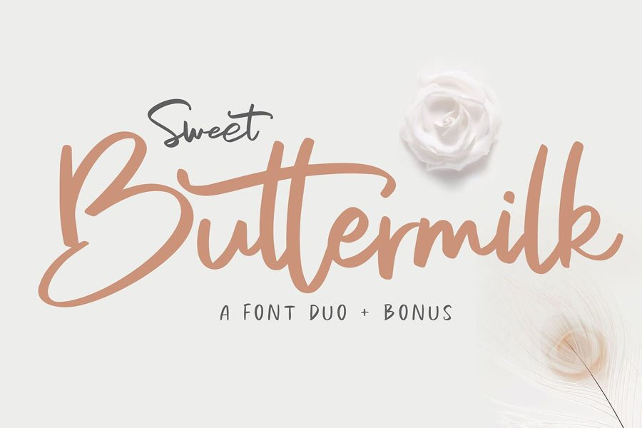 Sweet Buttermilk free calligraphy font duo