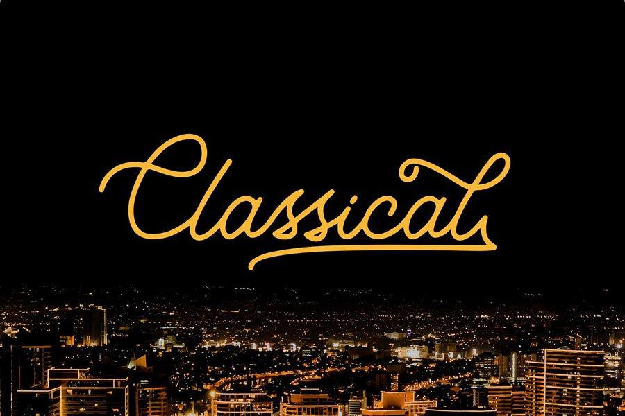 Classical Monoline free calligraphy font