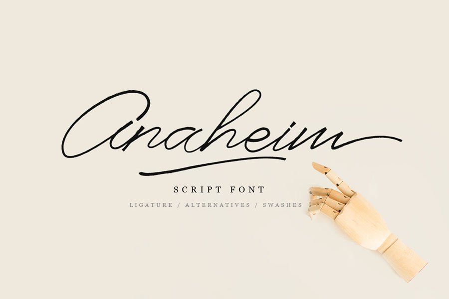 Anaheim free calligraphy font