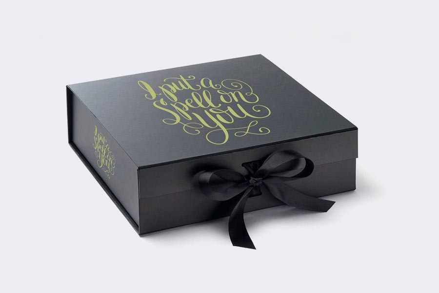Black PSD gift box mockup