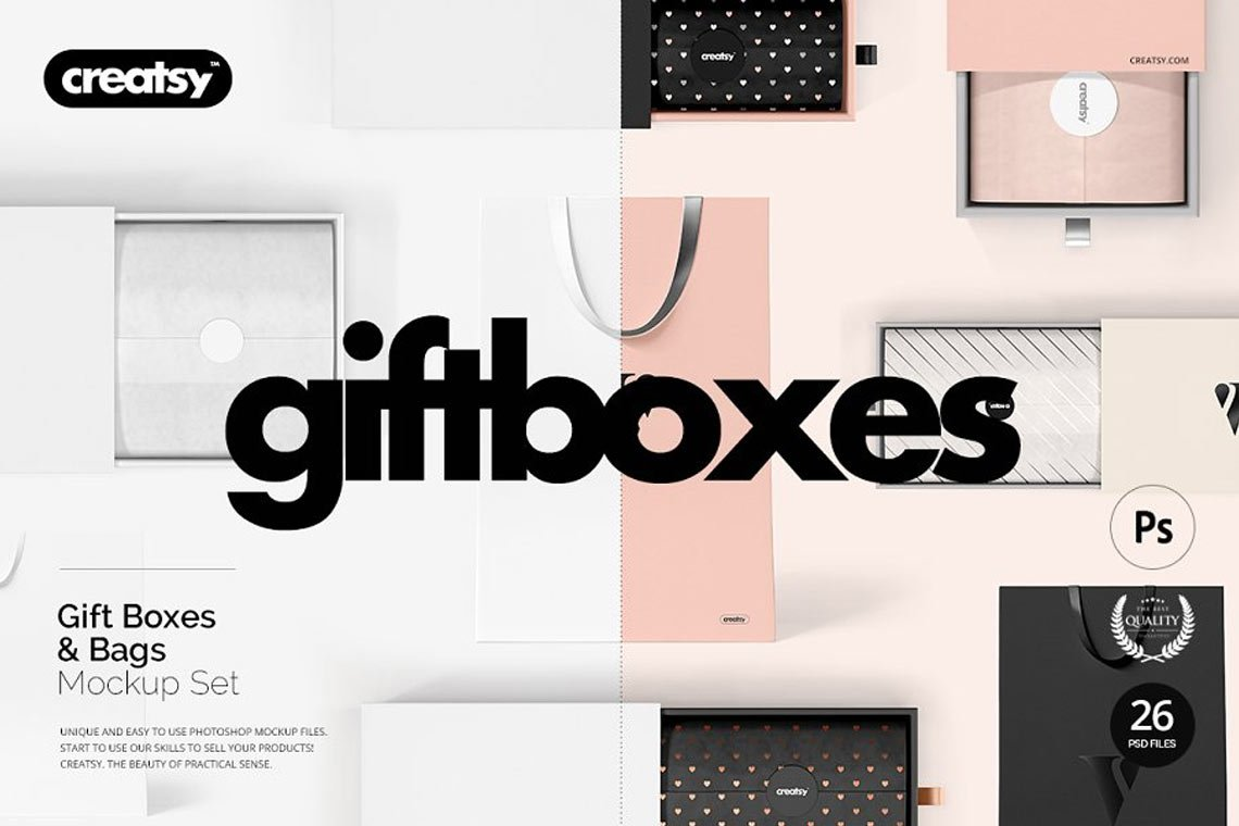 Gift Boxes and Bags Mockup Set