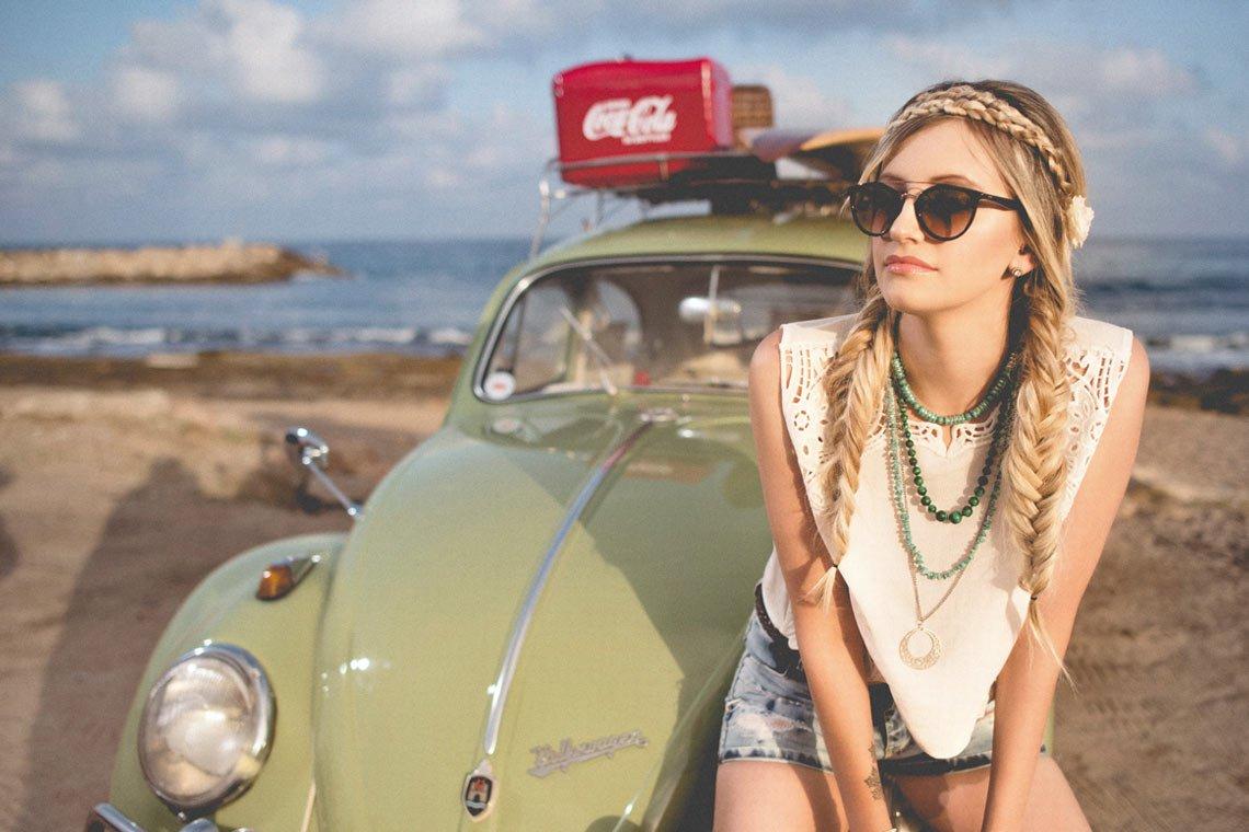 Beach girl on volkswagen beetle wallpaper by Amos Bar-Zeev