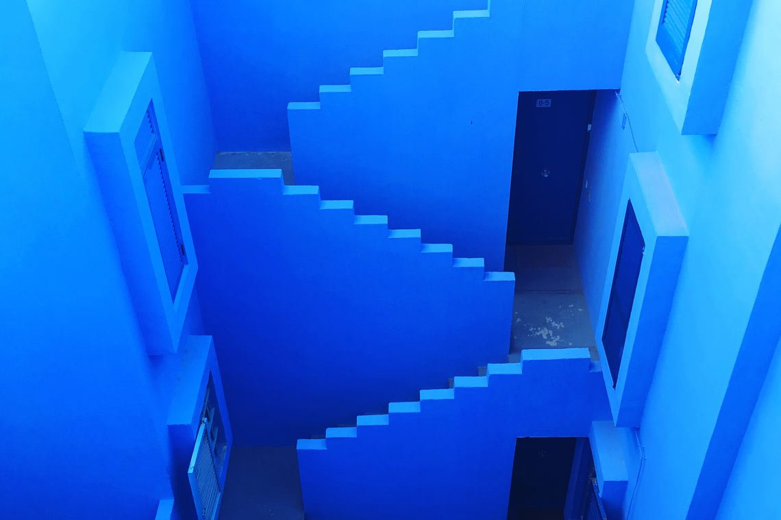 Blue stairs wallpaper by @beasty