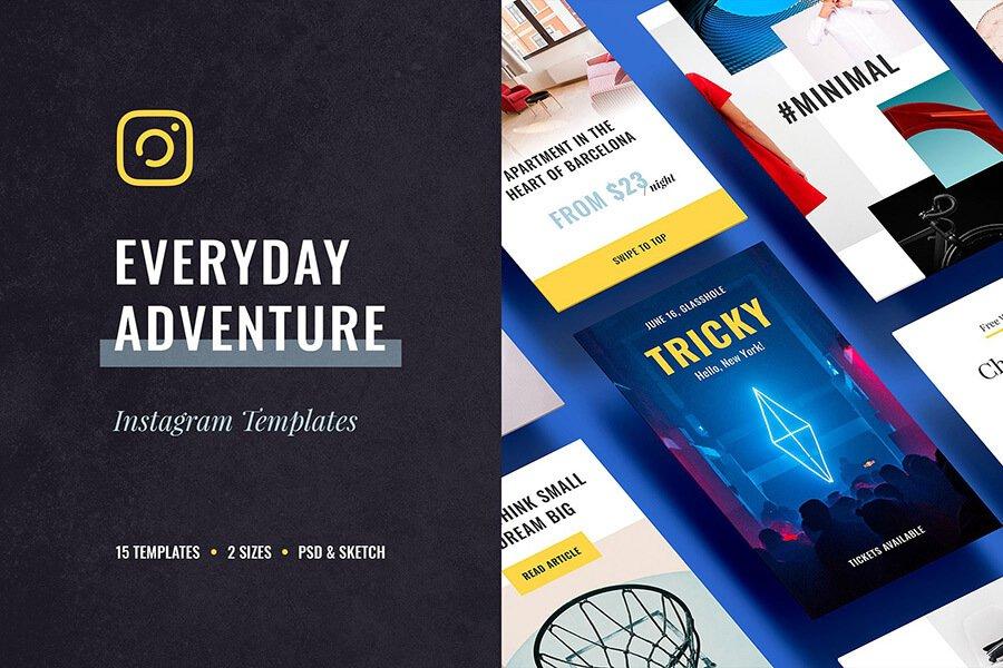 Eeveryday adventure Instagram templates