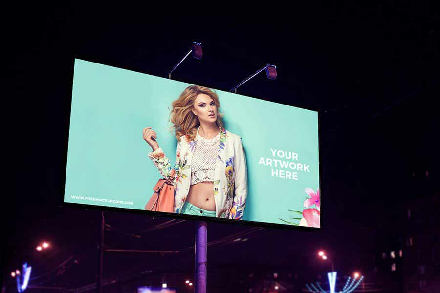 Night Scene Advertisement Billboard Mockup