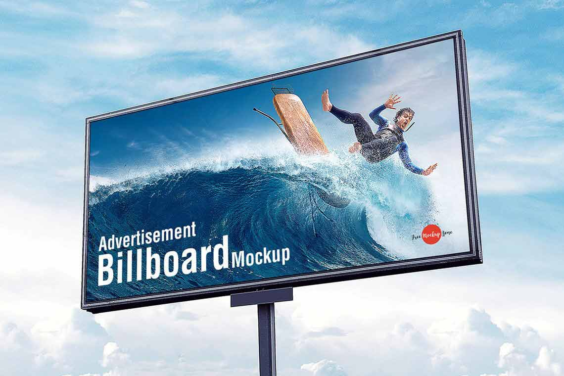 Sky Advertisement Billboard Mockup