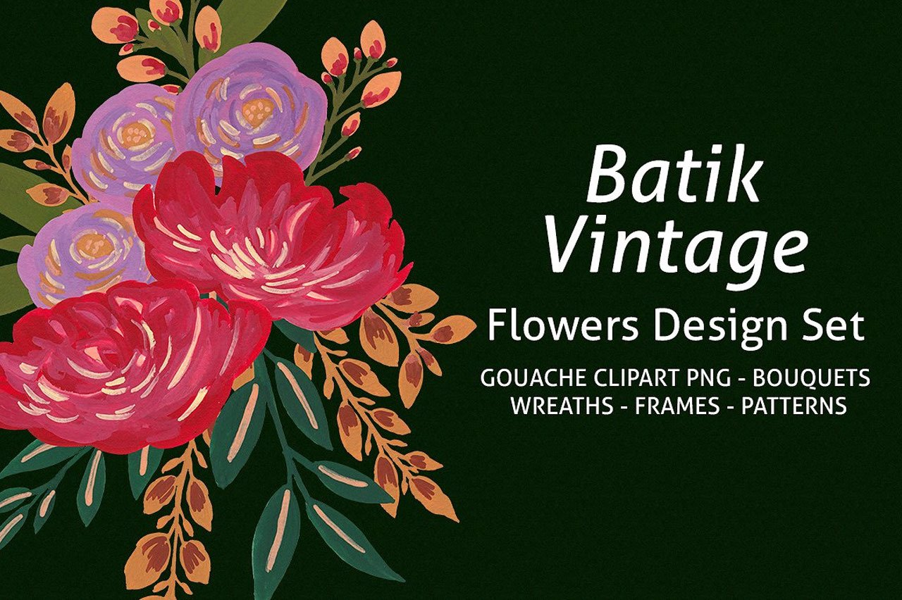 Batik Vintage Flowers Design Set