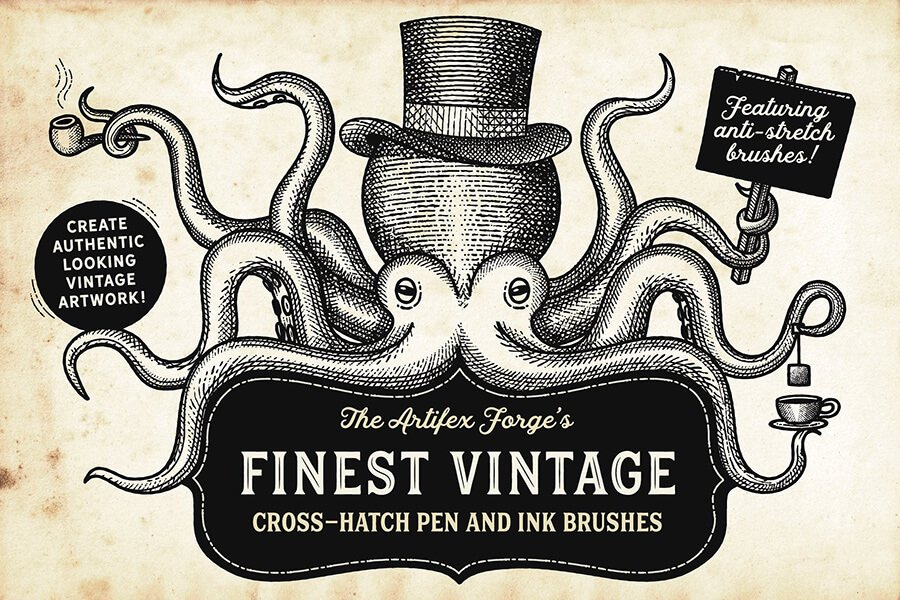 Finest Vintage - Illustrator Brushes