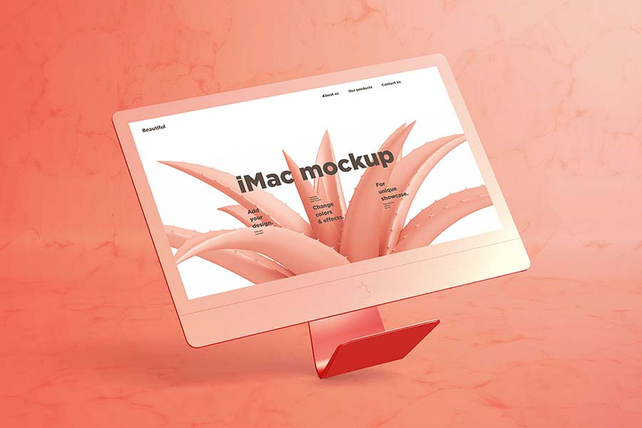 Free iMac Mockup with Marble