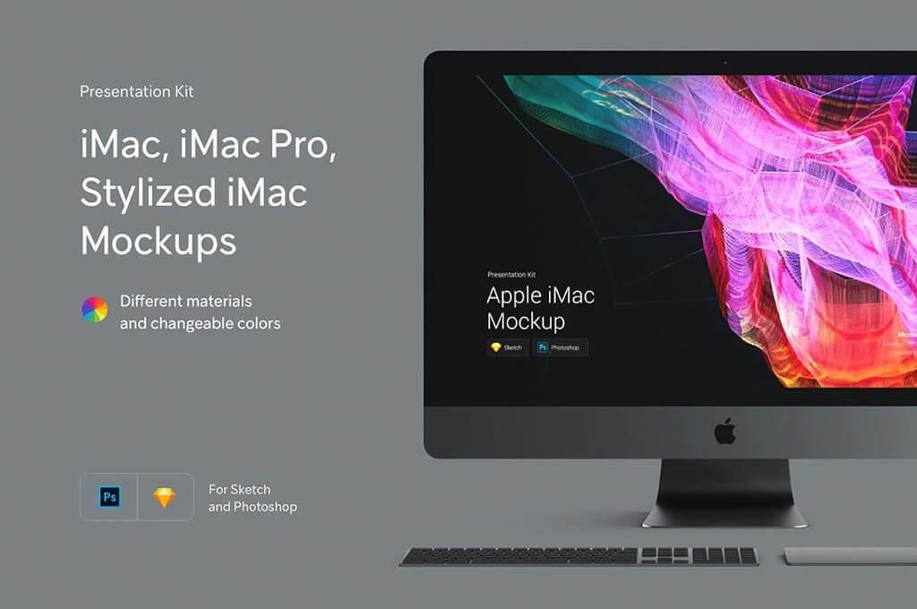 Stylized iMac Mockup Set