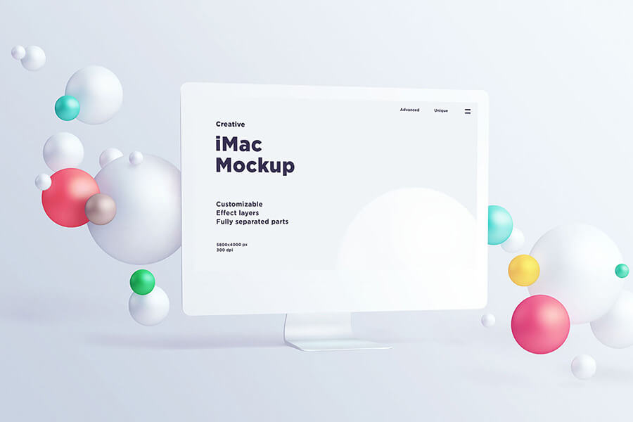 iMac With Spheres Free Mockup