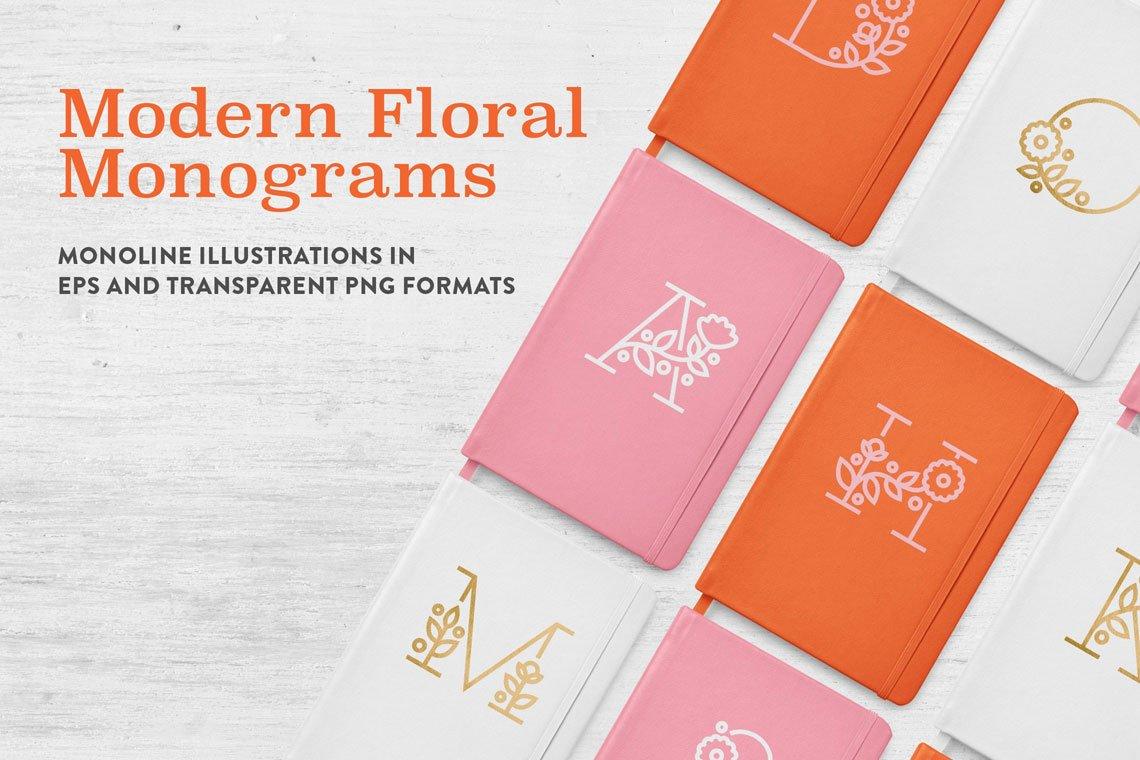 Modern Floral Monograms