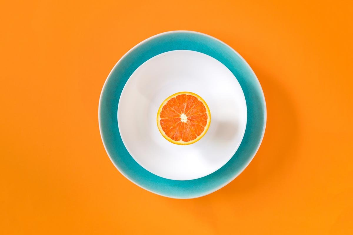 Orange plate wallpaper by Mae Mu