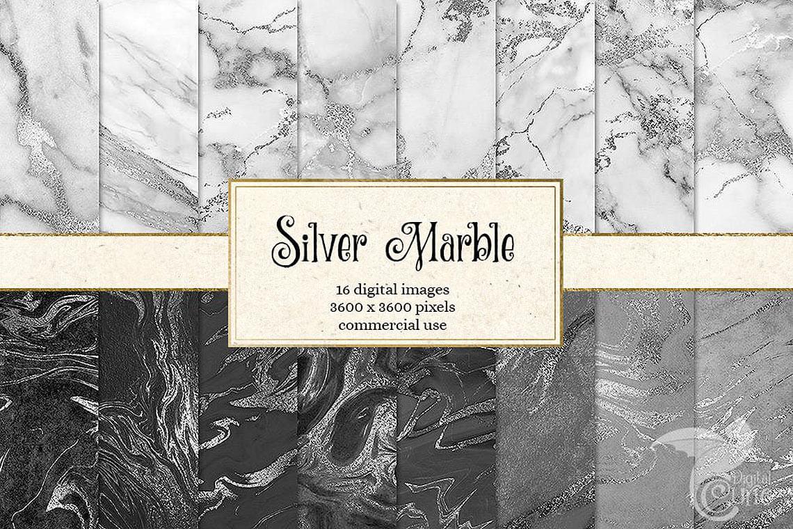 Silver Marble Digital Paper