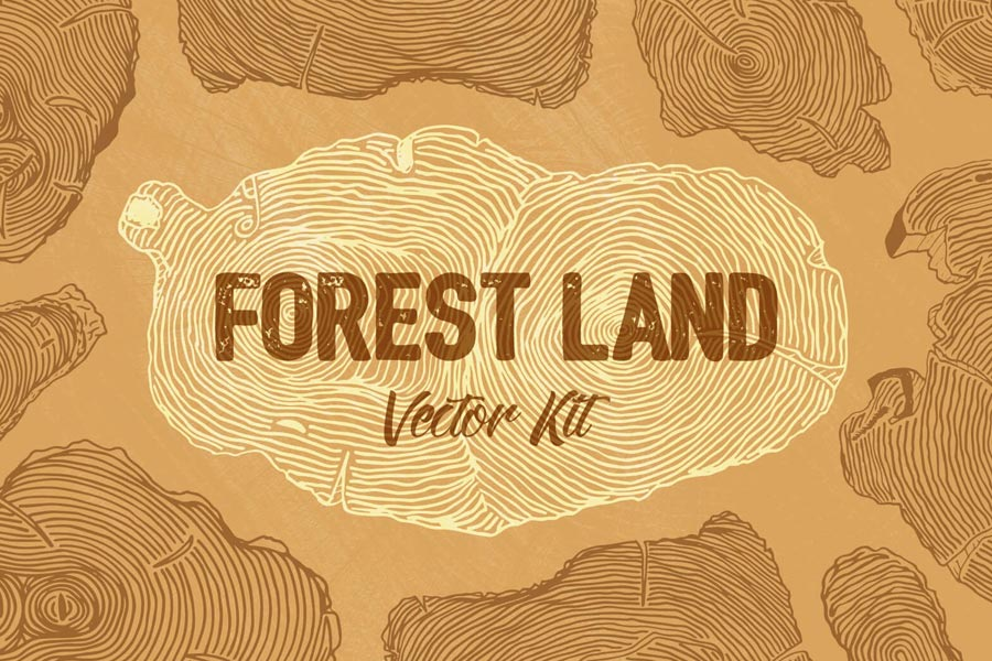 Forest Land Vector Kit: Wood Textures & Seamless Patterns
