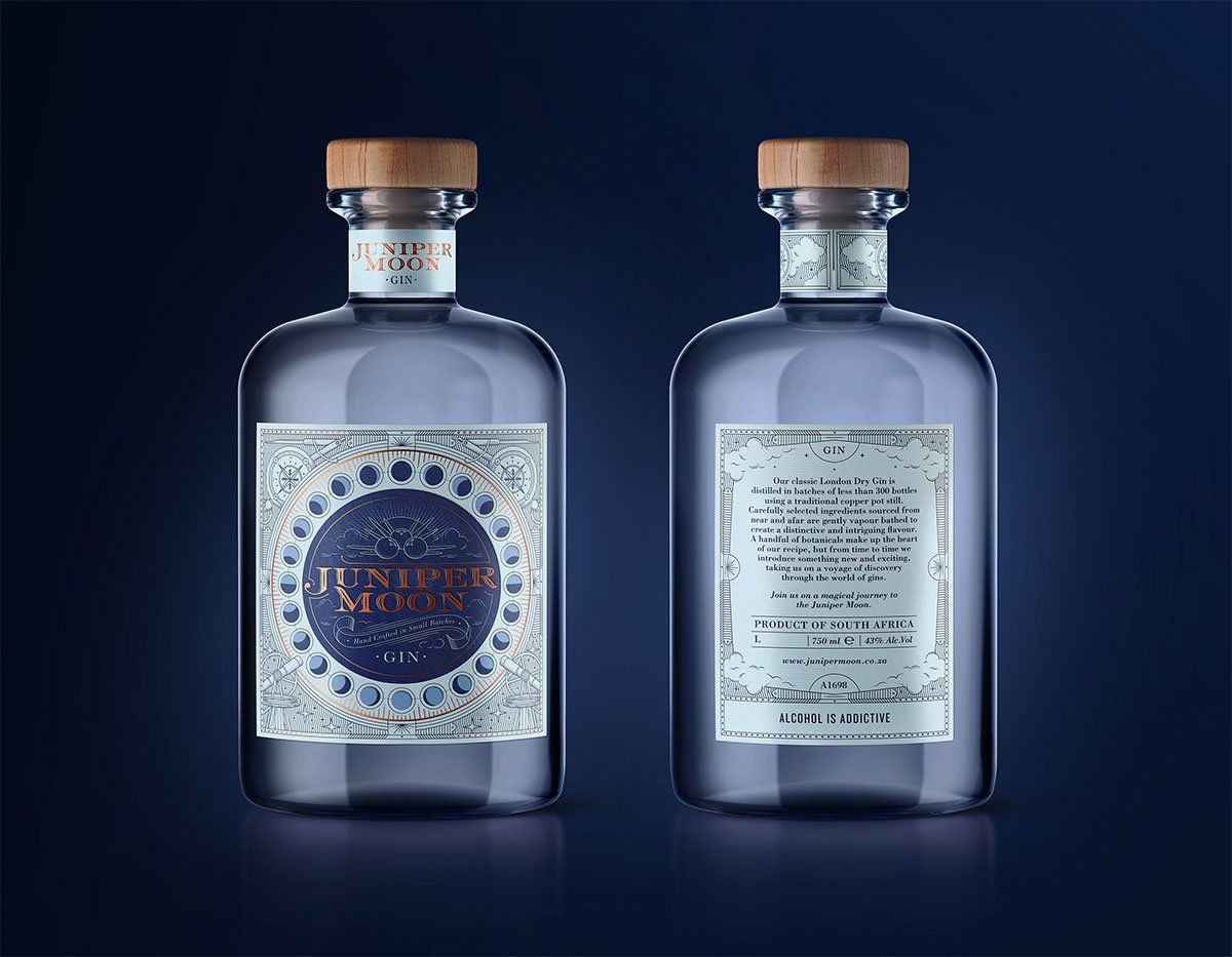 Juniper Moon Gin Packaging by Tessa Kleingeld