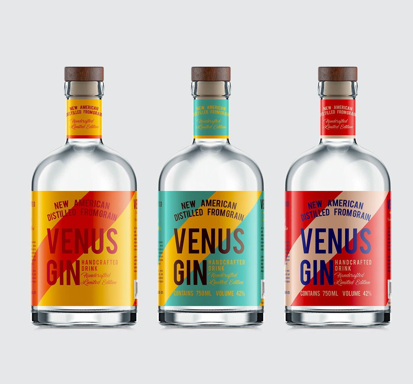 Venus Handmade gin label by Vecazor Branding, Ruslan Jabrailov