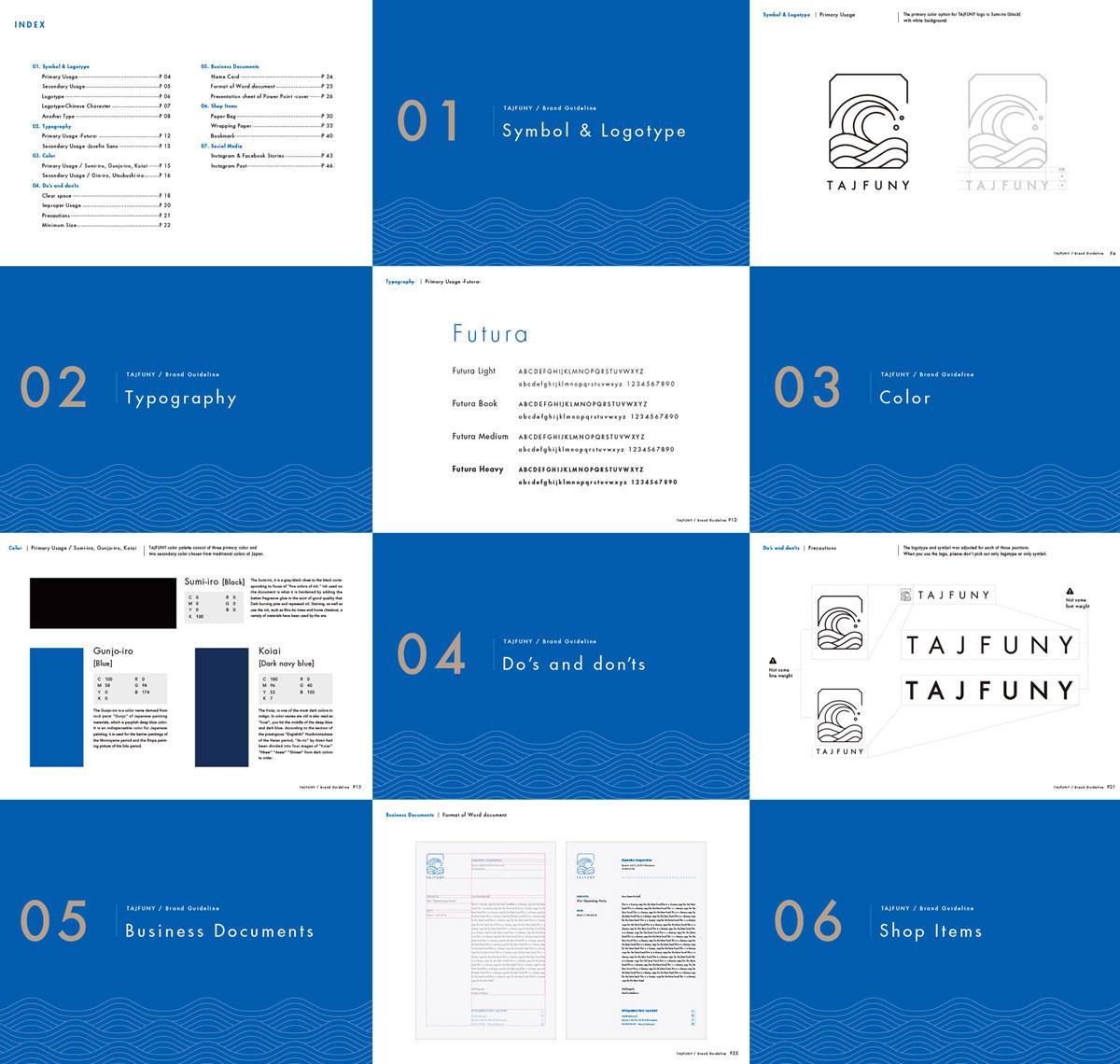 Futura Font Foes Japan in a Branding Design Project for TAJFUNY