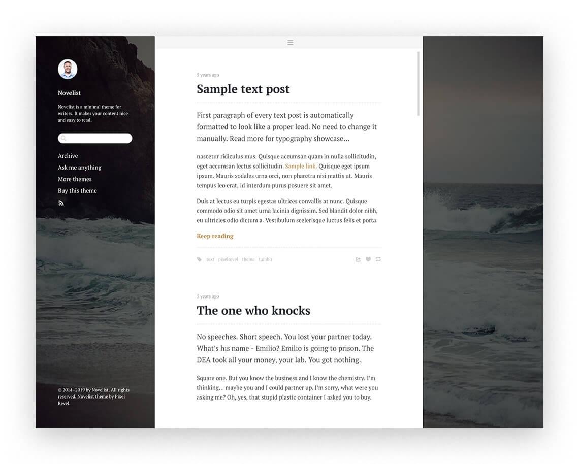 Novelist Blog Theme