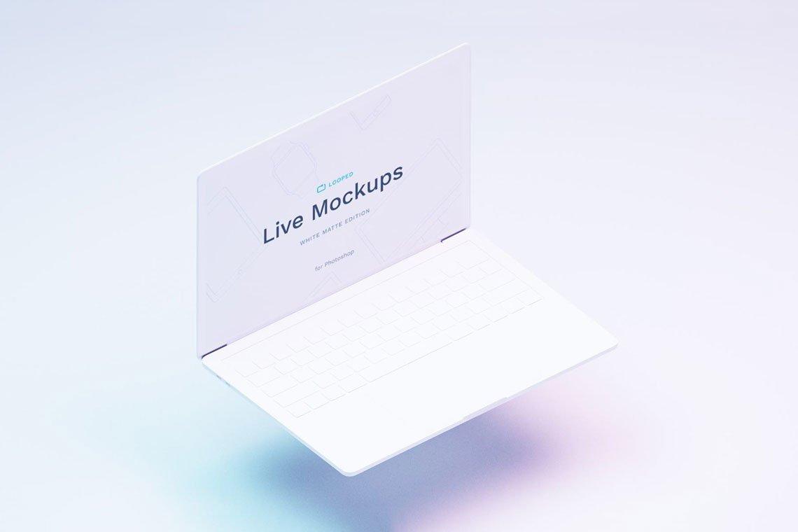 White Photoshop & Sketch Laptop Mockup