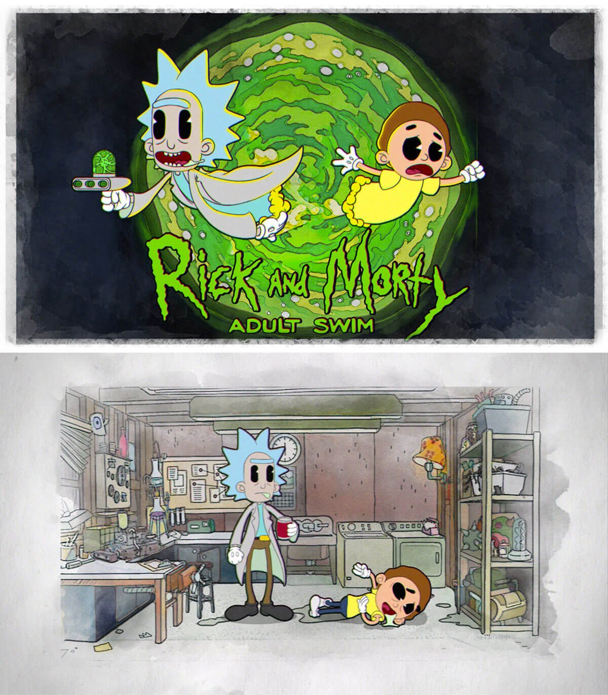 Rick and Morty Meets Cuphead by Marko Stanojevic