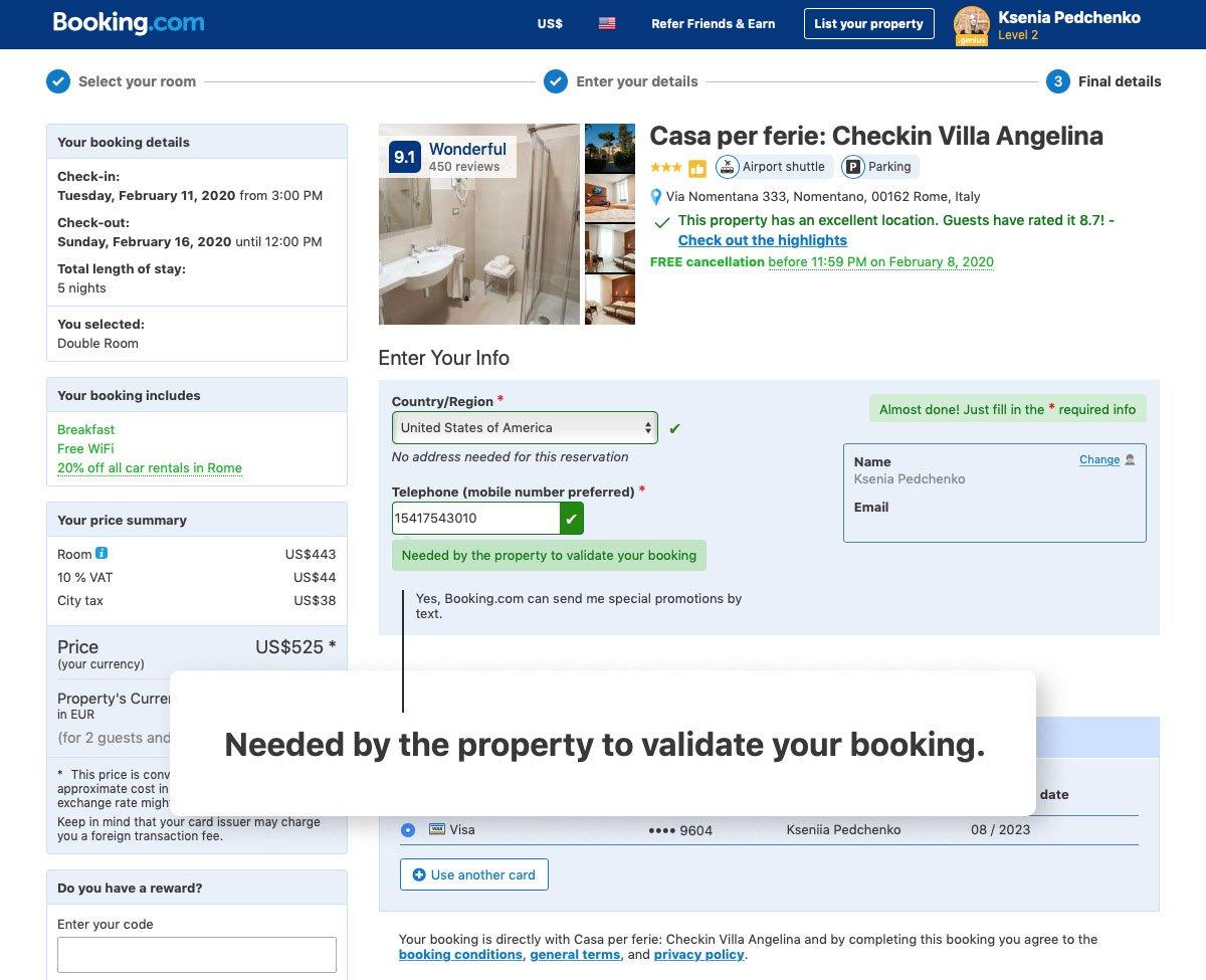 Booking.com microcopy