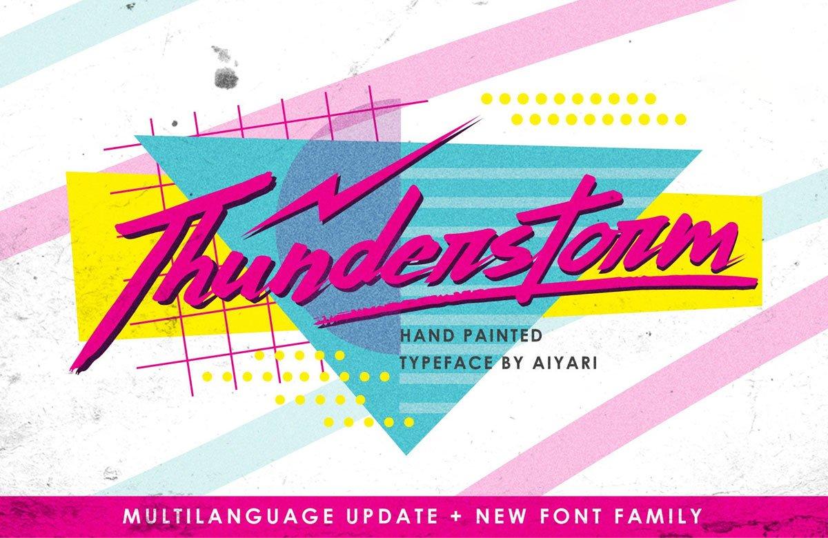 Thunderstorm Memphis Typeface + Extras