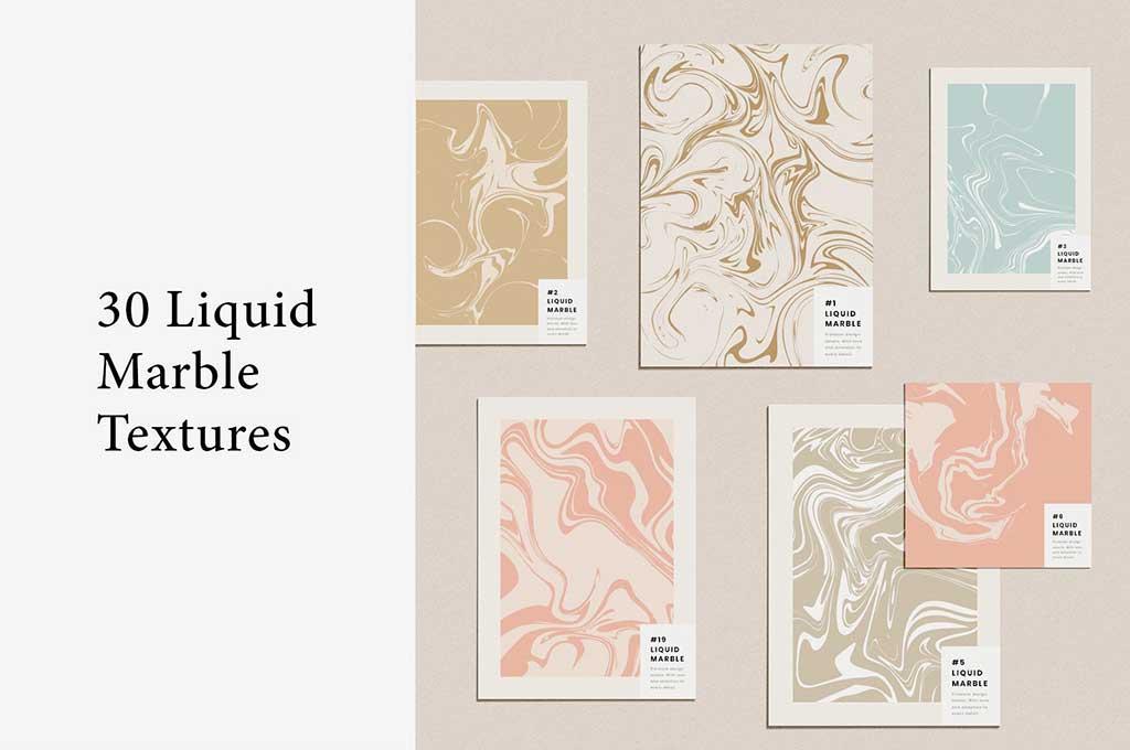 30 Liquid Marble Textures — Vector