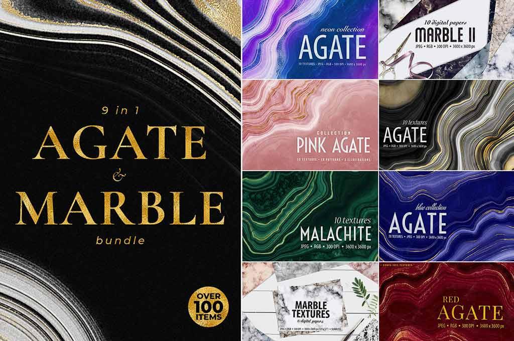 Agate, Marble & Gold Textures Bundle